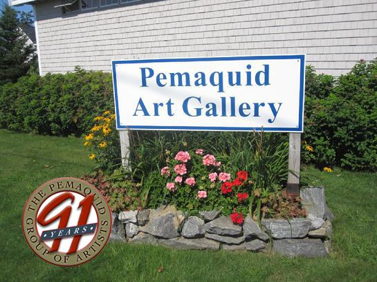 Pemaquid Gallery Sign with 91st Anniversary Logo